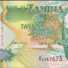 Billetes extranjeros: BILLETES ZAMBIA - 20 KWACHA 1992 - CAPICÚA 5767675 SERIE A/D - PICK-36B. Lote 88605164