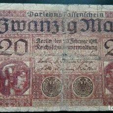 Billetes extranjeros: ALEMANIA 20 MARCOS 1918. Lote 88908176
