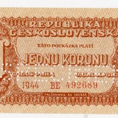 Billetes extranjeros: CHECOSLOVAQUIA - 1 KORUNU - AÑO 1944 (SPECIMEN) - S/C (VER FOTO ADICIONAL). Lote 89500740