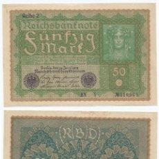Billetes extranjeros: ALEMANIA - GERMANY 50 MARK 1919, REHIE 2 PICK 66.2 UNC. Lote 89619192