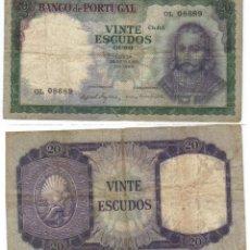 Billetes extranjeros: PORTUGAL 20 ESCUDOS 1960 IMAGEN AMBAS CARAS VARIANTE FIRMAS. Lote 89668906