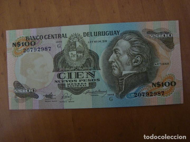 BILLETE URUGUAY 100 NUEVOS PESOS SIN CIRCULAR (Numismática - Notafilia - Billetes Extranjeros)