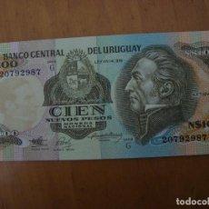 Billetes extranjeros: BILLETE URUGUAY 100 NUEVOS PESOS SIN CIRCULAR. Lote 91937513