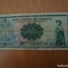 Billetes extranjeros: BILLETE PARAGUAY 1 GUARANI 1952. Lote 91938668