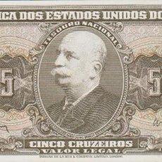 Billetes extranjeros: BILLETES BRASIL - 5 CRUZEIROS (1962-64) SERIE 2946A/050768 - PICK-176A (SC). Lote 295741133
