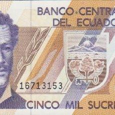 Notas Internacionais: BILLETES ECUADOR - 5000 SUCRES 26-3-99 - SERIE AÑ Nº 16713107 - PICK-128C. Lote 207278441