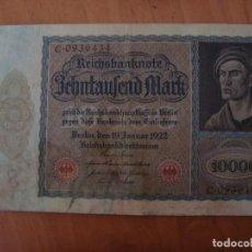 Billetes extranjeros - BILLETE ALEMANIA 10000 MARCOS 1922 GRAN TAMAÑO - 92123940
