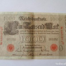 Billetes extranjeros: ALEMANIA * 1000 MARCOS 1910 * SELLO ROJO - SERIE 0. Lote 92225460