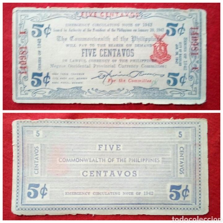 BILLETE DE FILIPINAS 5 CENTAVOS 1942 MUY ESCASO (Numismática - Notafilia - Billetes Extranjeros)