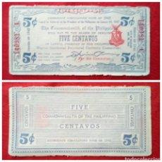 Billetes extranjeros: BILLETE DE FILIPINAS 5 CENTAVOS 1942 MUY ESCASO. Lote 93113367
