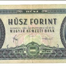 Billetes extranjeros - HUNGRÍA 20 FLORINES - FORINTOS 1980 - 94283595