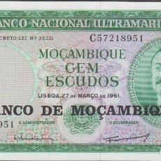 Billetes extranjeros: BILLETES MOZAMBIQUE - 100 ESCUDOS 1961 - SERIE C 57218955 - PICK-117 (SC). Lote 147108045