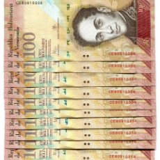 Billetes extranjeros: VENEZUELA 100 BOLIVARES 5-NOV-2015 P-93 UNC LOT 10 PCS . Lote 94558031
