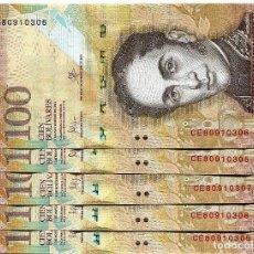 Billetes extranjeros: VENEZUELA 100 BOLIVARES 5-NOV-2015 P-93 UNC LOT 5 PCS. Lote 94558151
