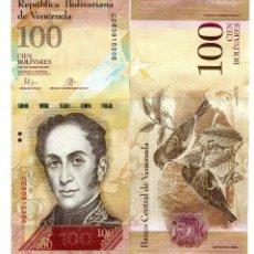 Billetes extranjeros: VENEZUELA 100 BOLIVARES 5-NOV-2015 P-93 UNC. Lote 94558235