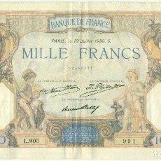 Billetes extranjeros: 1.000 FRANCOS DE PARIS DEL 10 JULIO DE 1930 C,. Lote 94813951