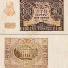 Billetes extranjeros: POLONIA 100 ZLOTYCH P-97 1940 SC VER DETALLE. Lote 95012344