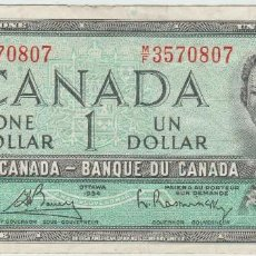 Billetes extranjeros: CANADA 1 DOLAR 1954 REINA ISABEL JOVEN. Lote 95230595