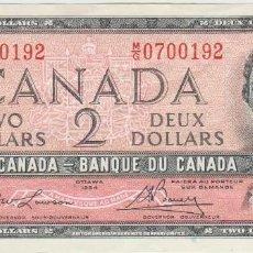Billetes extranjeros: CANADA 2 DOLAR 1954 REINA ISABEL JOVEN. Lote 95230623