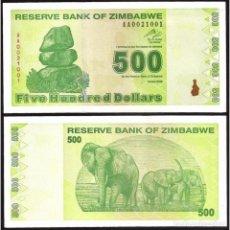 Billetes extranjeros: ZIMBABWE - 500 DOLLARS - AÑO 2009 - S/C. Lote 99910076