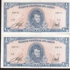 Billetes extranjeros: 2 BILLETES DE CHILE MEDIO ESCUDO VER FOTOS QUE NO TE FALTE EN TU COLECCION. Lote 248986155