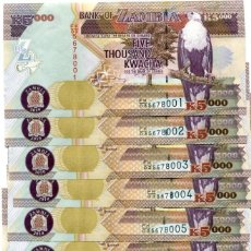 Billetes extranjeros: ZAMBIA 5000 KWACHA 2010 P-45F UNC LOT 10 PIECES (PCS) . Lote 95887131