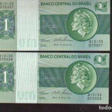 Billetes extranjeros: PAREJA CORRELATIVAS 2 BILLETES PLANCHA DE BRASIL 1CRUZEIRO VER TODOS MIS LOTES DE BILLETES . Lote 120794388