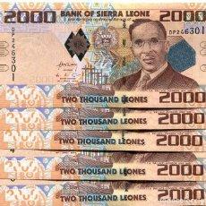 Billetes extranjeros: SIERRA LEONE 2000 LEONES 2010 P-31 UNC LOT 5 PCS . Lote 95939415