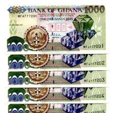 Billetes extranjeros: GHANA 1000 CEDIS 2002 P-32H UNC LOT 10 PCS . Lote 96016767