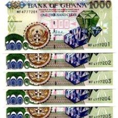 Billetes extranjeros: GHANA 1000 CEDIS 2002 P-32H UNC LOT 5 PCS. Lote 96016991