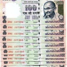 Billetes extranjeros: INDIA 100 RUPEES 2012 P-105C RUPEE SYMBOL NO LETTER UNC LOT 10 PCS . Lote 96017259