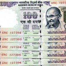 Billetes extranjeros: INDIA 100 RUPEES 2012 P-105C RUPEE SYMBOL NO LETTER UNC LOT 5 PCS . Lote 96017479