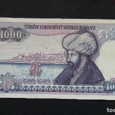 Billetes extranjeros: TURKIA BILLETE DE 1.000 LIRAS 1970. Lote 96017707