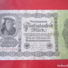 Billetes extranjeros: ALEMANIA. BILLETE DE 50000 MARCOS. 1922. Lote 96323899