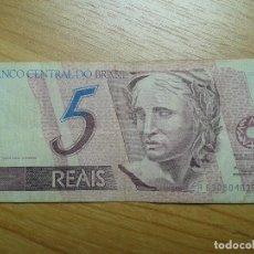Billetes extranjeros: BILLETE DE 5 REALES -- CINCO REALES DE BRASIL -- CIRCULADO -- REAL REAIS. Lote 96542339