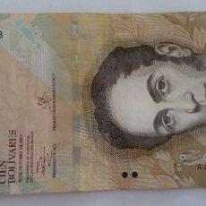Billetes extranjeros: BILLETE DE LA SERIE AA DE 100 BS. DE VENEZUELA AÑO 2013 CON EL BUSTO DEL LIBERTADOR SIMÓN BOLIVAR. Lote 96748298