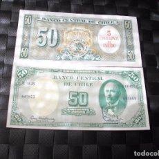 Billetes extranjeros: PRECIOSO BILLETE PLANCHA DE CHILE 50 PESOS VER TODOS MIS LOTES DE BILLETES. Lote 248986850