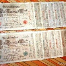 Billetes extranjeros: OJO!!! NUMERACIÓN CORTA, MUCHO MÁS COTIZADA 15 BILLETES 1000 MARCOS 1910. LOS 2 TIPOS. Lote 97405051