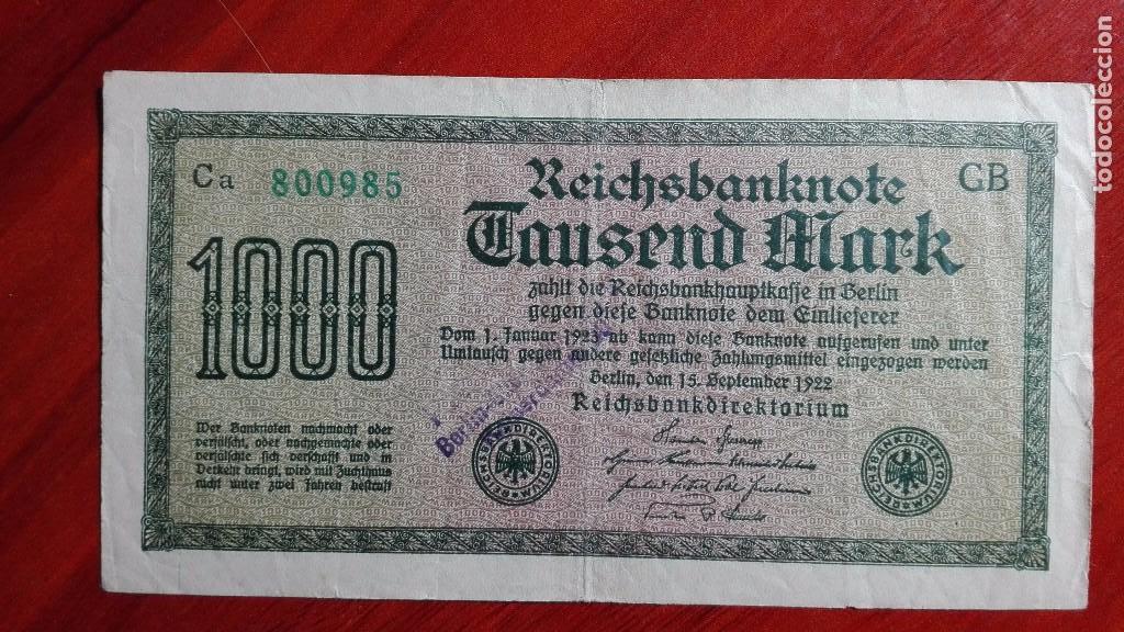 ANTIGUO BILLETE ALEMANIA DE 1000 MARCOS 1922 SOBRECARGA BERLIN (Numismática - Notafilia - Billetes Extranjeros)