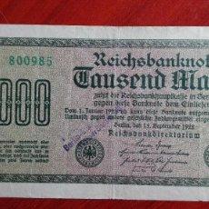 Billetes extranjeros: ANTIGUO BILLETE ALEMANIA DE 1000 MARCOS 1922 SOBRECARGA BERLIN. Lote 97678651