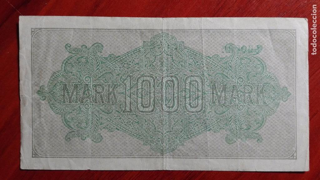 Billetes extranjeros: Antiguo billete Alemania de 1000 marcos 1922 Sobrecarga Berlin - Foto 2 - 97678651