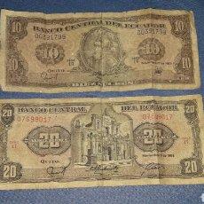 Billetes extranjeros: LOTE 2 BILLETES 10 SUCRES Y 20 SUCRES. Lote 98019755