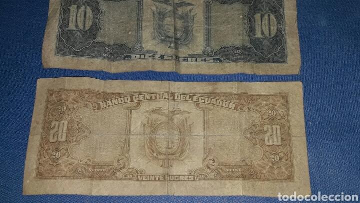 Billetes extranjeros: LOTE 2 BILLETES 10 SUCRES Y 20 SUCRES - Foto 3 - 98019755