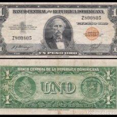 Billetes extranjeros: REPUBLICA DOMINICANA 1 PESO ORO 1955. PICK 60B. Lote 98019867