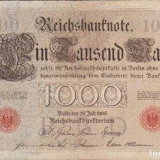 Billetes extranjeros: BILLETES - GERMANY-ALEMANIA - 1000 MARK 1906 - SERIE A - PICK-27 - RARO (BC+). Lote 98117227