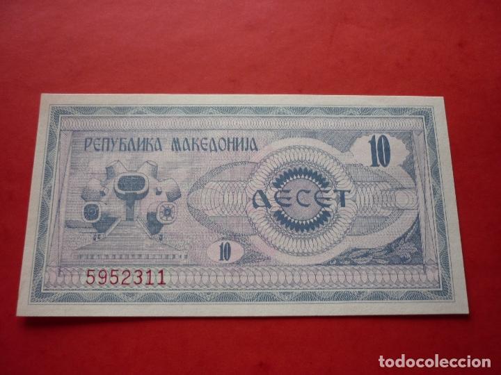 Billetes extranjeros: MACEDONIA, 10 DENARI 1992 - Foto 2 - 98225731