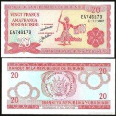 Billetes extranjeros: BURUNDI - 20 FRANCS - (01-11-2007) - S/C. Lote 98410027