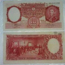 Billetes extranjeros: BILLETE DE 10 PESOS MONEDA NACIONAL REPUBLICA ARGENTINA - AÑO 1961 - SIN CIRCULAR. Lote 98883347