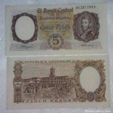 Billetes extranjeros: BILLETE DE 5 PESOS MONEDA NACIONAL REPUBLICA ARGENTINA - AÑO 1961 - SIN CIRCULAR . Lote 98883511