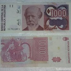 Billetes extranjeros: BILLETE DE 1000 AUSTRALES REPUBLICA ARGENTINA. Lote 98884367